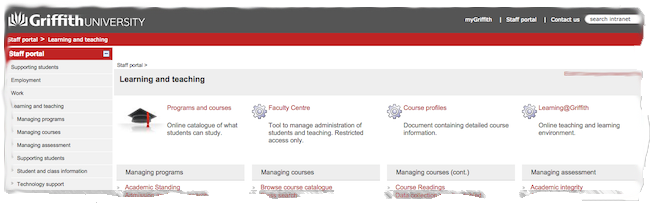 Partial screenshot of Staff portal