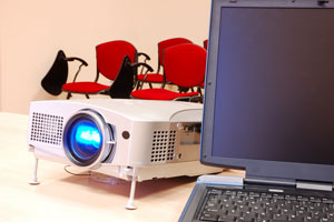 Portable projectors like this one can be booked using this service