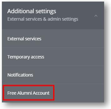 Additional settings - free alumni account